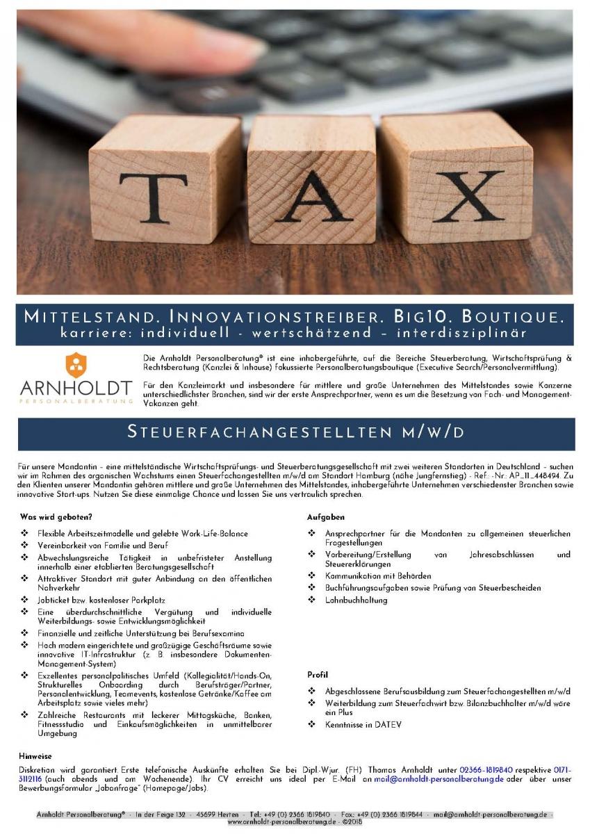 Hamburg - Steuerfachangestellten m/w/d - ARNHOLDT Personalberatung ...